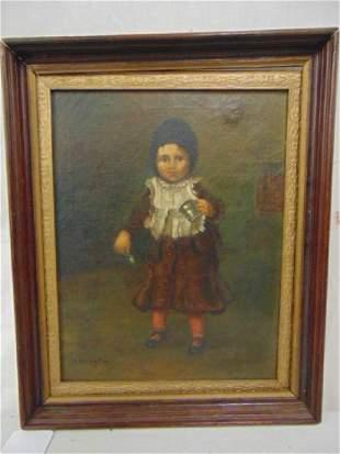 Painting portrait child B Brighton oil on canvas