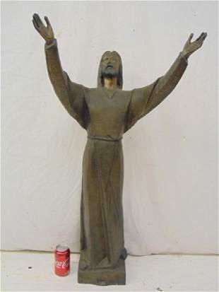 Bronze statue of Jesus standing Jesus figure with both