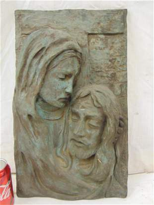 Bronze plaque Mary Jesus signed DP 19 by
