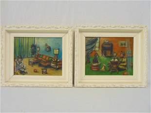 Pair folk art paintings O Russell interior scenes