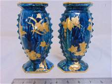 Pair early Royal Worcester vases two enamel decorated