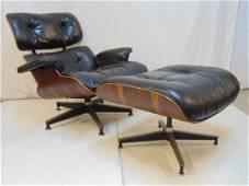 Eames chair & ottoman, Herman Miller black leather