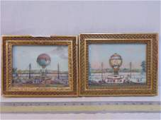 2 French balloon collages watercolors on glass two