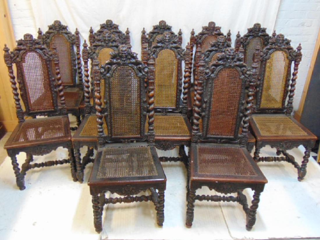Set of 12 carved oak chairs, 12 oak dining chairs with