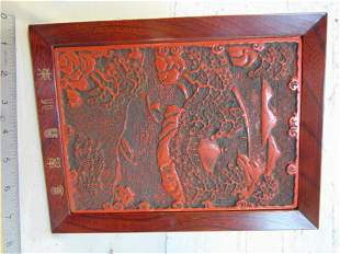 """Cinnabar plaque, Japanese, """"To Doctor James Holland,"""