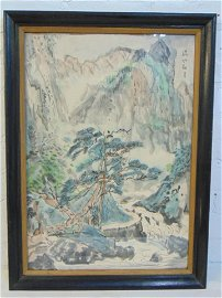 Painting, Chinese landscape with river, mountains,