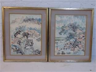 Pair Chinese paintings, landscapes, watercolors on