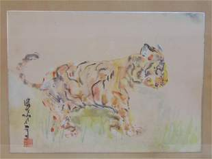Chinese watercolor, Tiger, signed, painting on thin