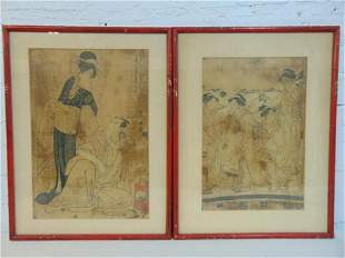 2 Japanese woodblock prints, man with pipe & woman
