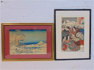 2 Japanese woodblock prints, snowy landscape with Mount