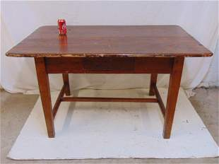 Country pine stretcher base table with single drawer