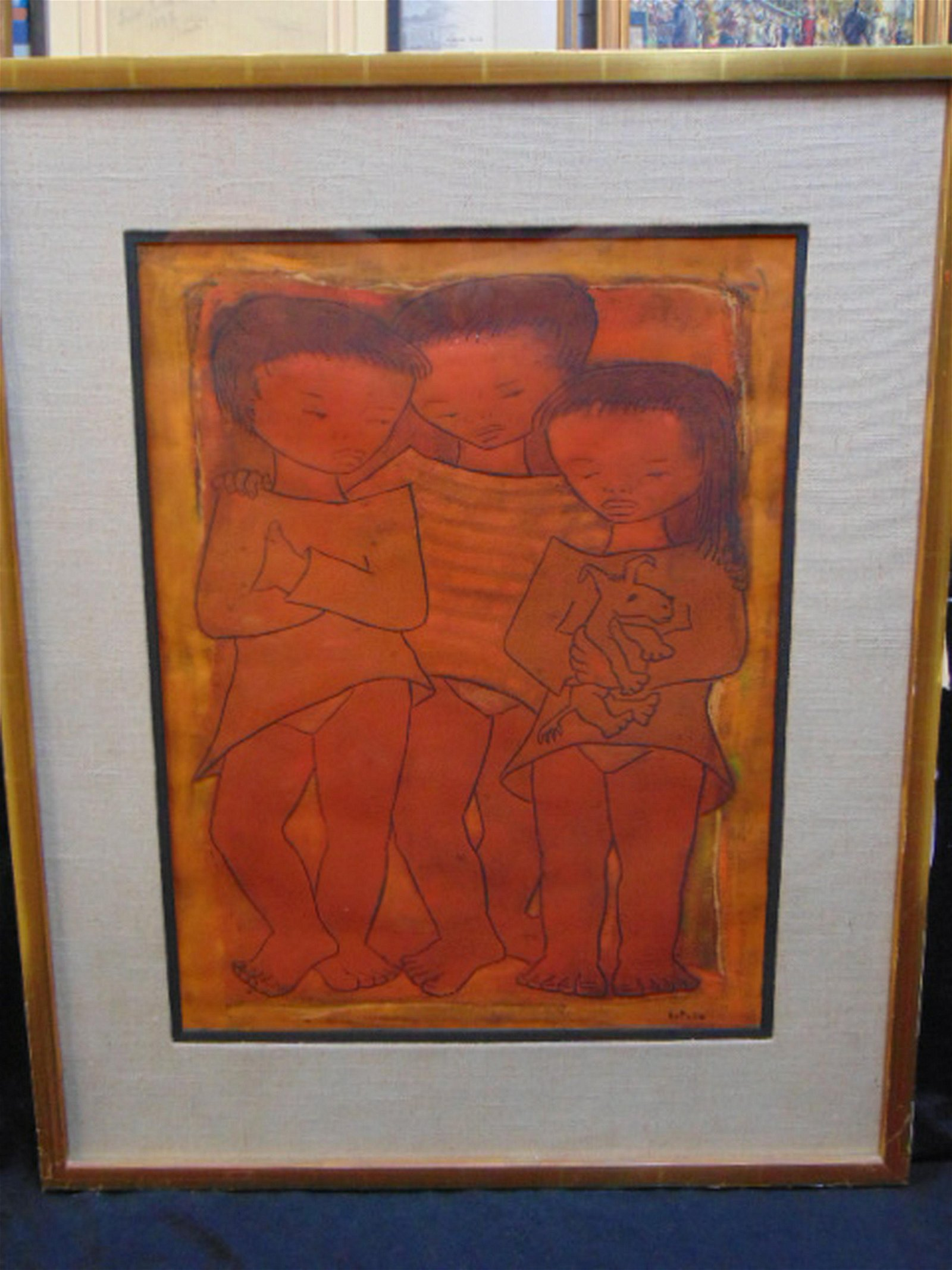 Lithograph, 3 children, Angel Botello, 16/50,showing
