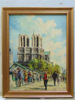 Painting Notre Dame Paris sgd Carli possibly an
