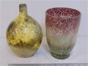 Art Glass vase pottery vase crackle art pottery