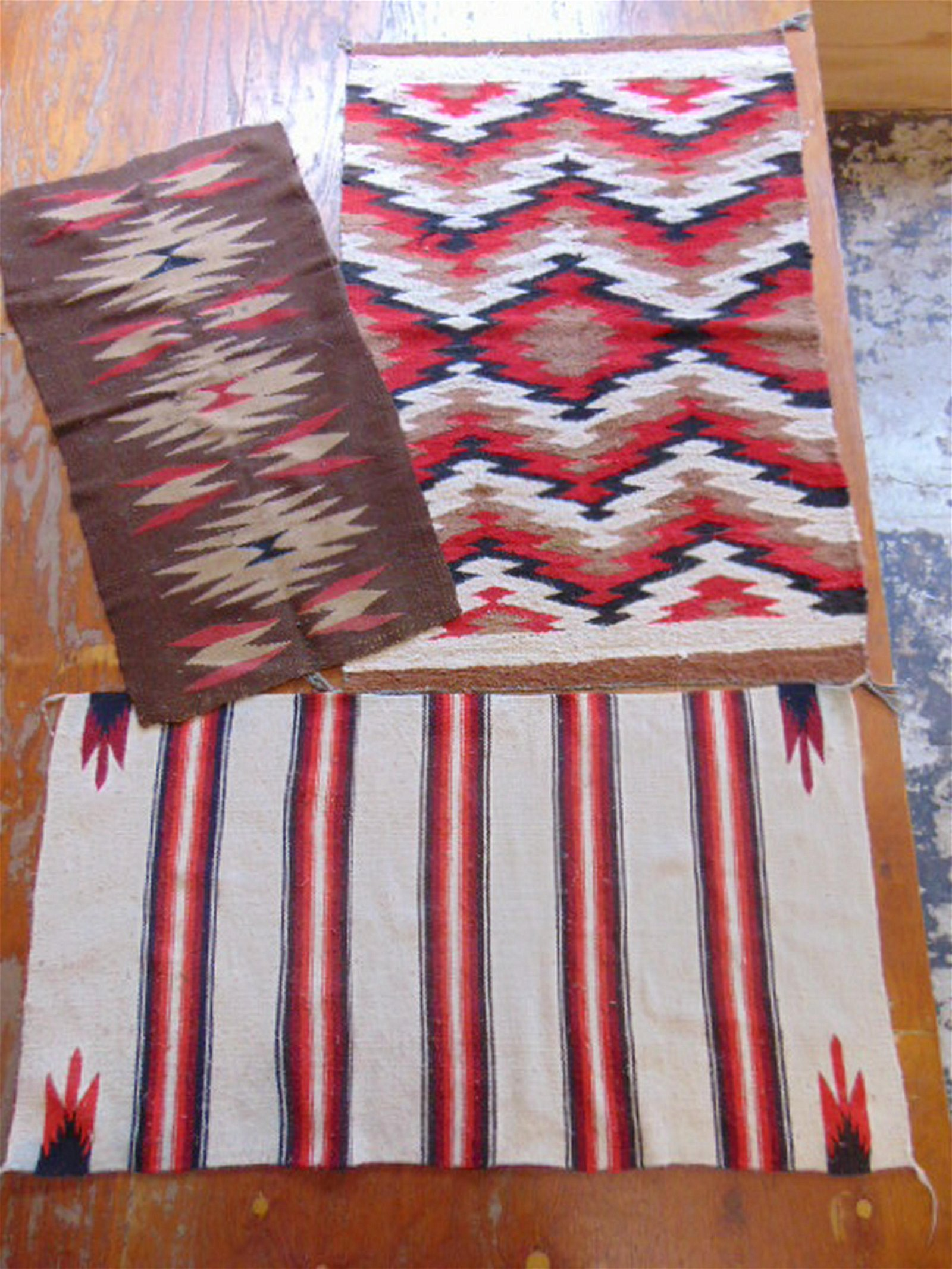 3 Navajo horse blankets, native Indian rugs, dazzlers &