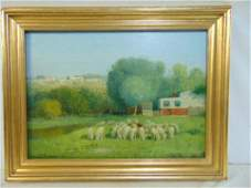 Painting, sheep, Charles Phelan, oil on canvas showing