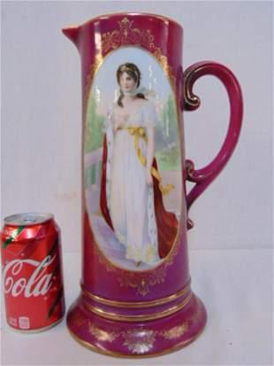 Austrian porcelain pitcher with portrait large pitcher