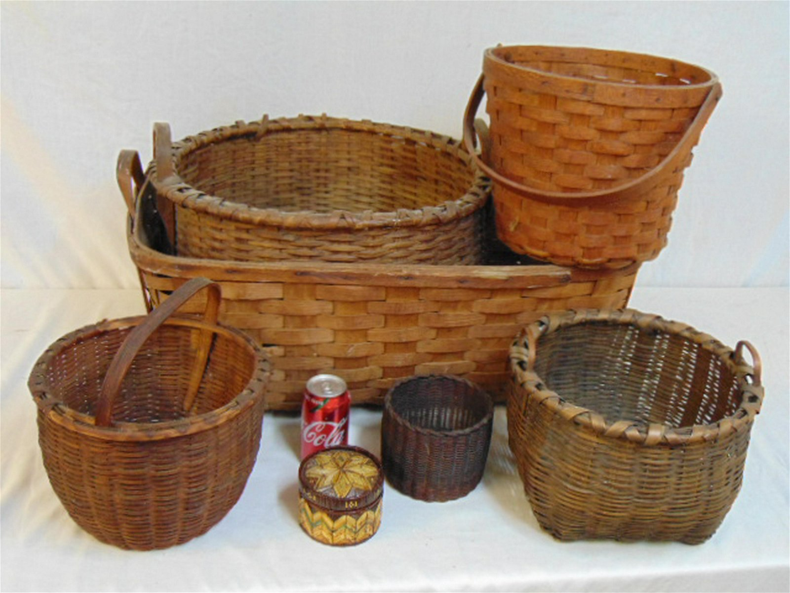 7 early baskets, large round & oblong baskets with