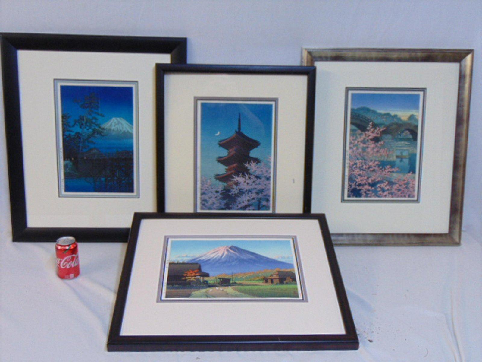 4 Japanese woodblocks, Kawase Hasui, 4 original