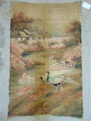 Asian embroidery pheasants near houses in landscape