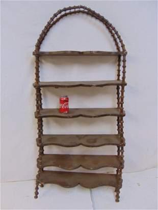 Spool shelf etagere 6 shelf etagere with decorative
