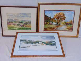 3 paintings landscapes Keith Hoffman watercolor