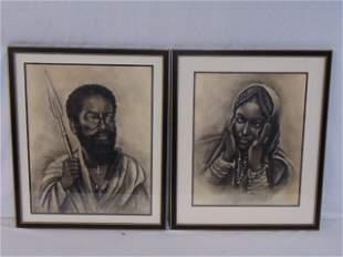 2 drawings W Awoke man with spear woman