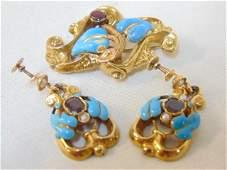 Victorian suite 14k enamel, turquoise & garnet include