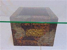 Paul Evans coffee or end table, mixed metal base, comes