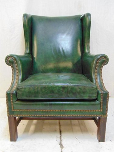 Wondrous Green Leather Wing Chair Wingback Chair By Drexel Short Links Chair Design For Home Short Linksinfo