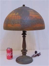 Handel table lamp, reverse painted shade, Handel table