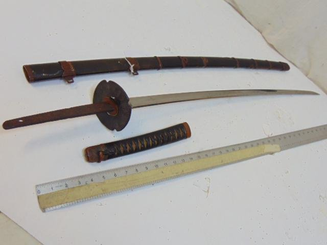 Antique Japanese sword, signed, leather scabbard, blade