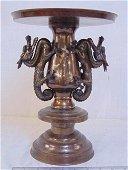Japanese flower vase, bronze, mixed metal, decorated