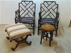 2 bamboo chairs 2 stools rosewood  needlepoint