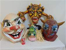 4 large paper Mache masks clown witch demon
