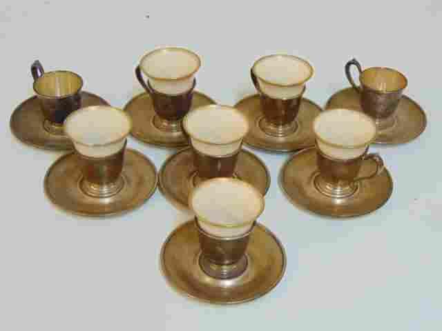 Set 8 Lenox demitasse cups, Gorham sterling cup holders
