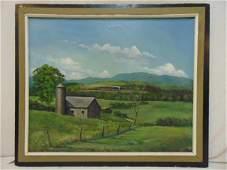 """Painting, train in farmland, G. Nichols, 27.5"""" by 34"""","""