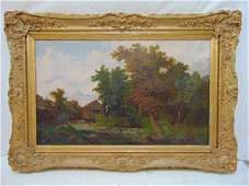 """Painting, figures fishing in stream, unsigned, 24"""" by"""