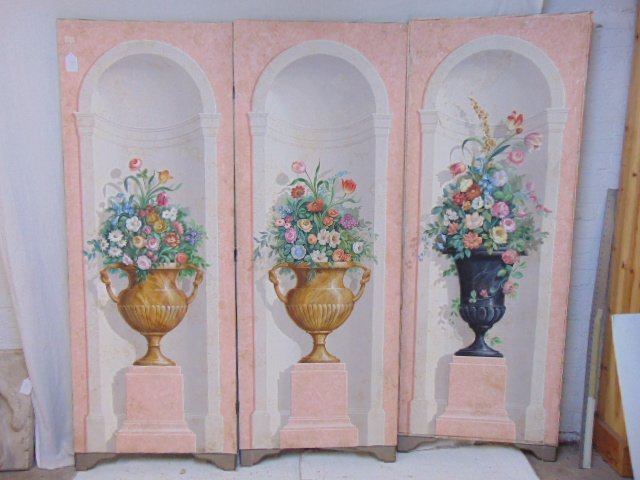 Decorative floral painted screen, 3 panel