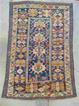 """Caucasian scatter rug, blue / beige, 54"""" by 37.5"""""""