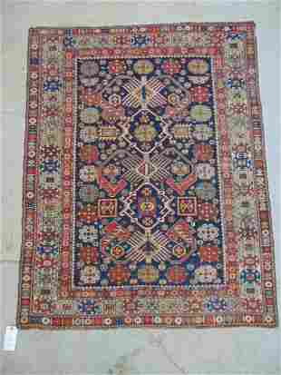 """Caucasian scatter rug, red, blue & beige, size is 4'11"""""""