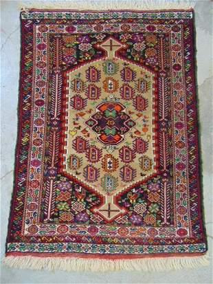 "Caucasian rug, center diamond, red & beige, 4'8"" by"