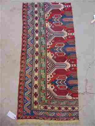 """Flatweave rug fragment, corner only, 65"""" by 29"""""""