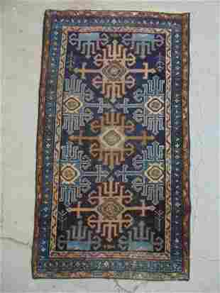 """Caucasian scatter rug, in blue, 50"""" by 28"""""""