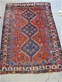 Caucasian carpet red  blue rug is 77 by 53