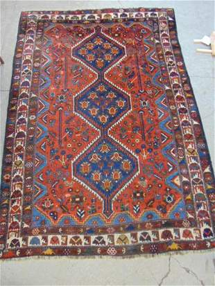 """Caucasian carpet, red & blue, rug is 7'7"""" by 5'3"""""""
