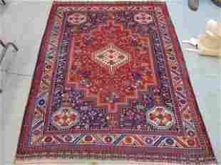 "Caucasian carpet, in red, orange & blue, 6'7"" by 5'1"""
