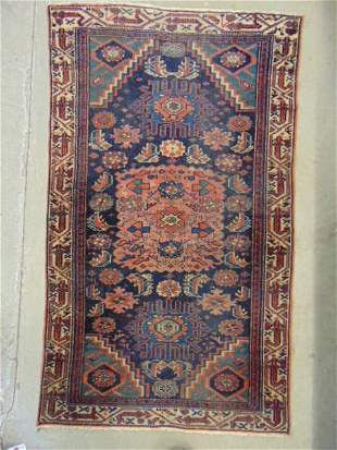 """Small Caucasian scatter rug, blue / red, 46"""" by 26.5"""""""