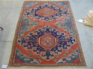 "Heriz carpet, blue & red, rug is 6'4"" by 4'9"""