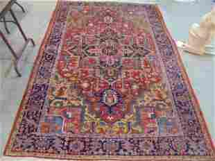 Persian carpet, red & blue, center medallion, rug is